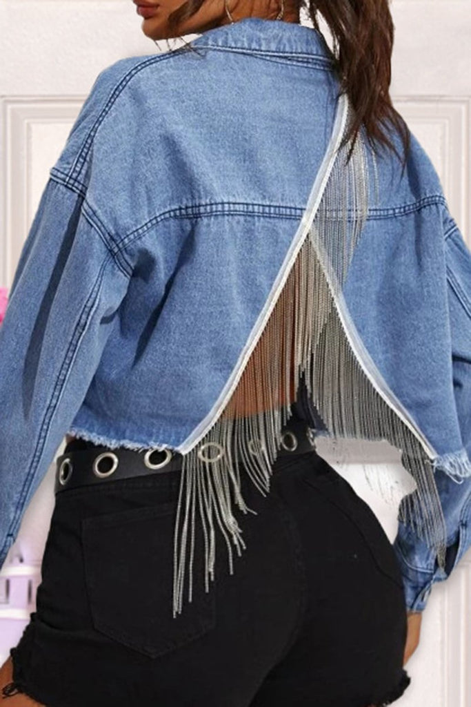 Denim Back Tassels Button Jacket