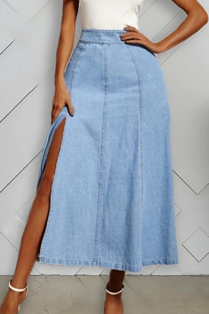 Side Slit Denim Solid Color Skirt