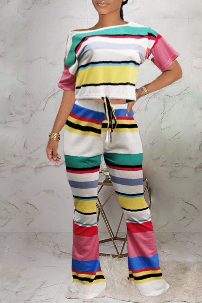 Rainbow Striped Skew Neck Lace Up Two Piece Sets
