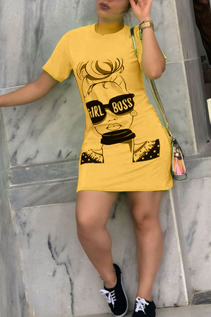 Cartoon Print Short Sleeve Mini Dress