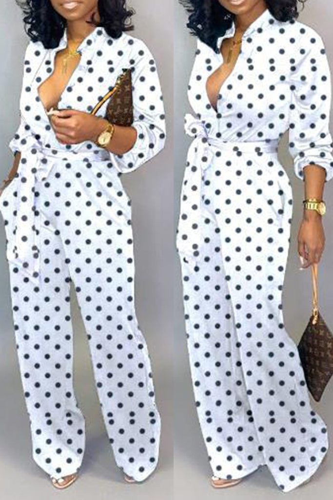 Plus Size Polka Dot Button Jumpsuit With Belt