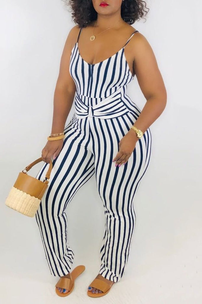 Tie Up Striped Sleeveless Jumpsuit