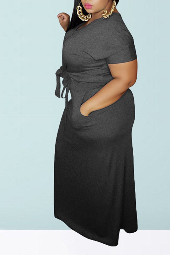 Plus Size Button Knotted Two Piece Dresses