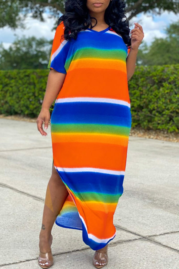 Rainbow Striped V-neck Slit Hem Maxi Dress