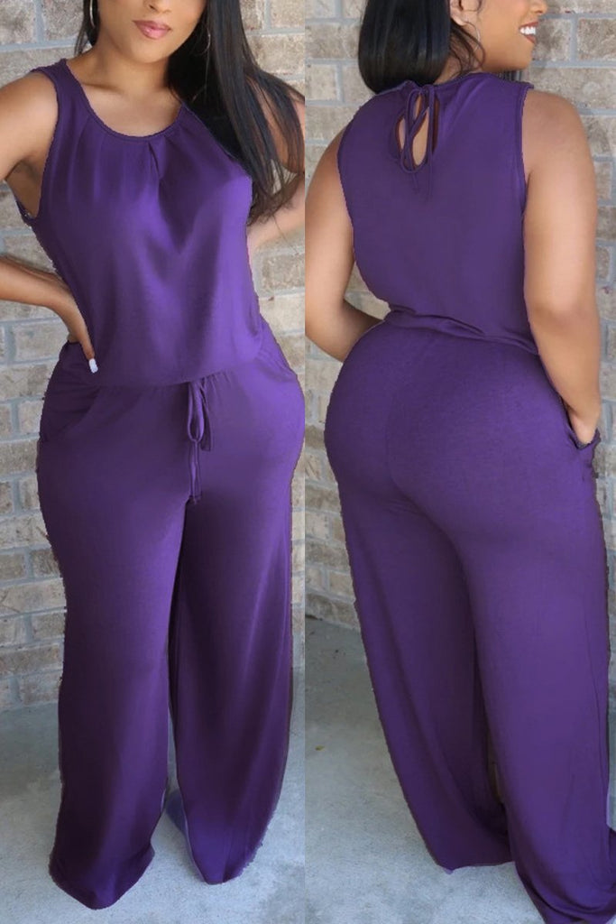 Drawstring Waist Sleeveless Solid Jumpsuit