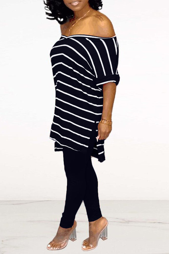 Stripe Print V-neck Slit Hem T-Shirt