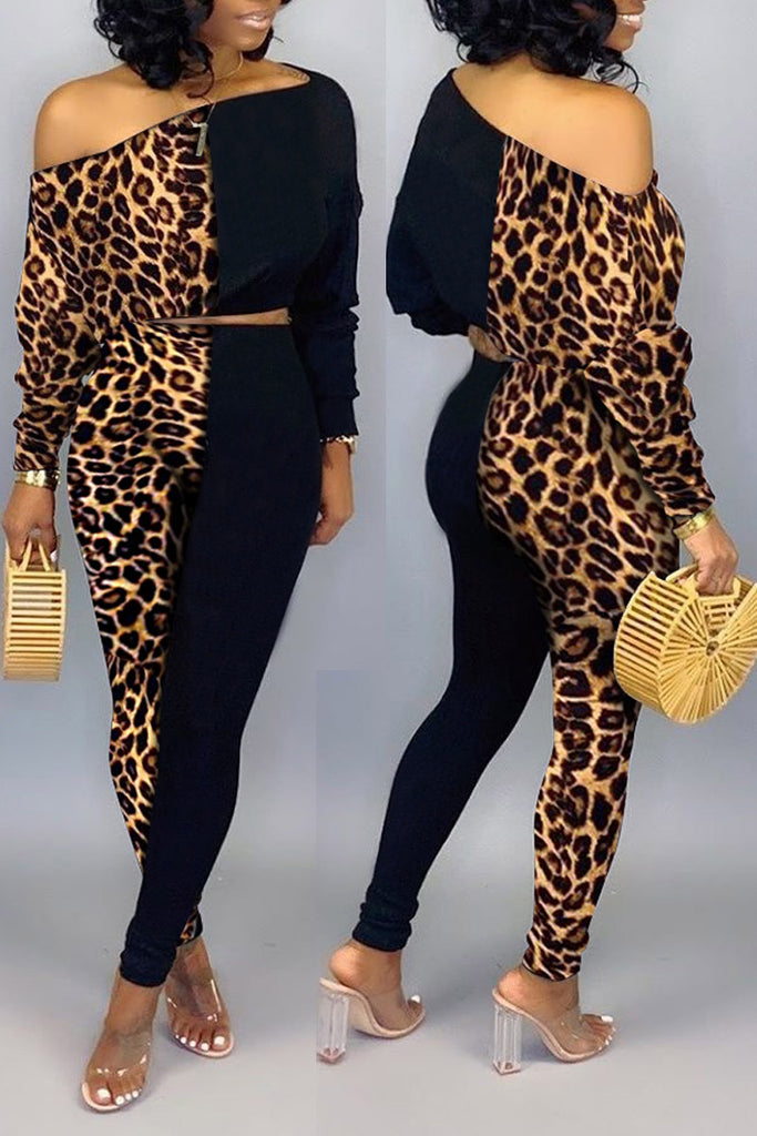 Plus Size Leopard Print Skew Neck Top & Pants