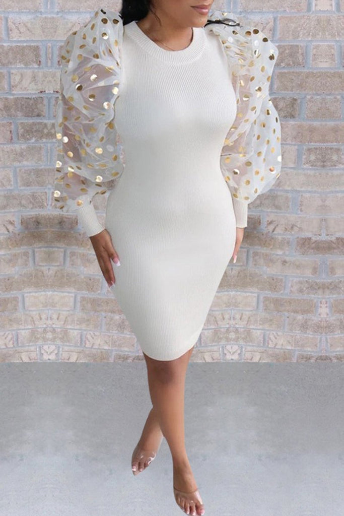 Sequin Puff Sleeve See-through Midi Dress
