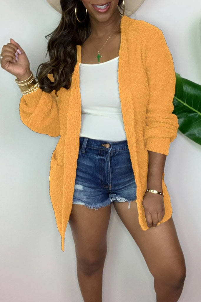 Plus Size Thicken Long Sleeve Cardigan