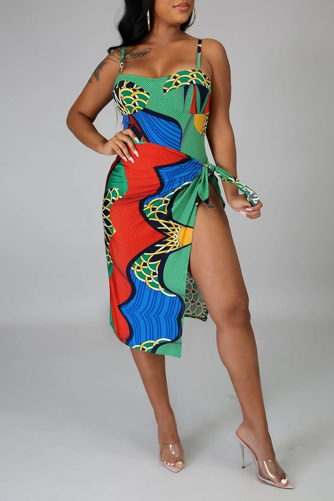Color Block Colorful Two Piece Swimwear