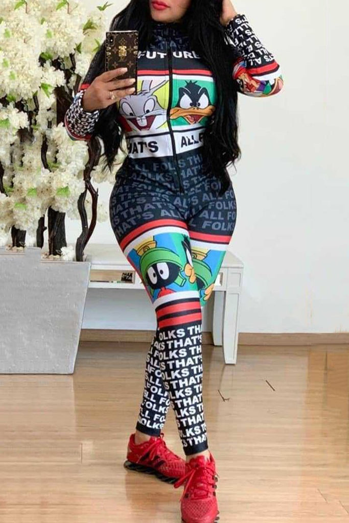 Cartoon Print Zipper Collar Jumpsuit