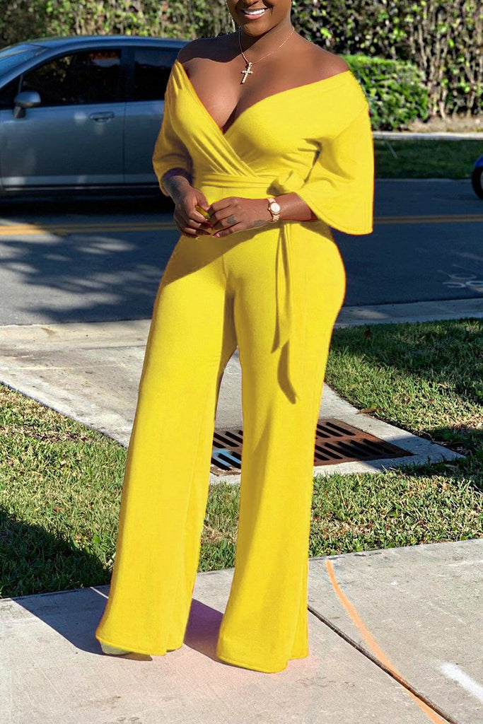 Off The Shoulder Belted Solid Color Jumpsuit