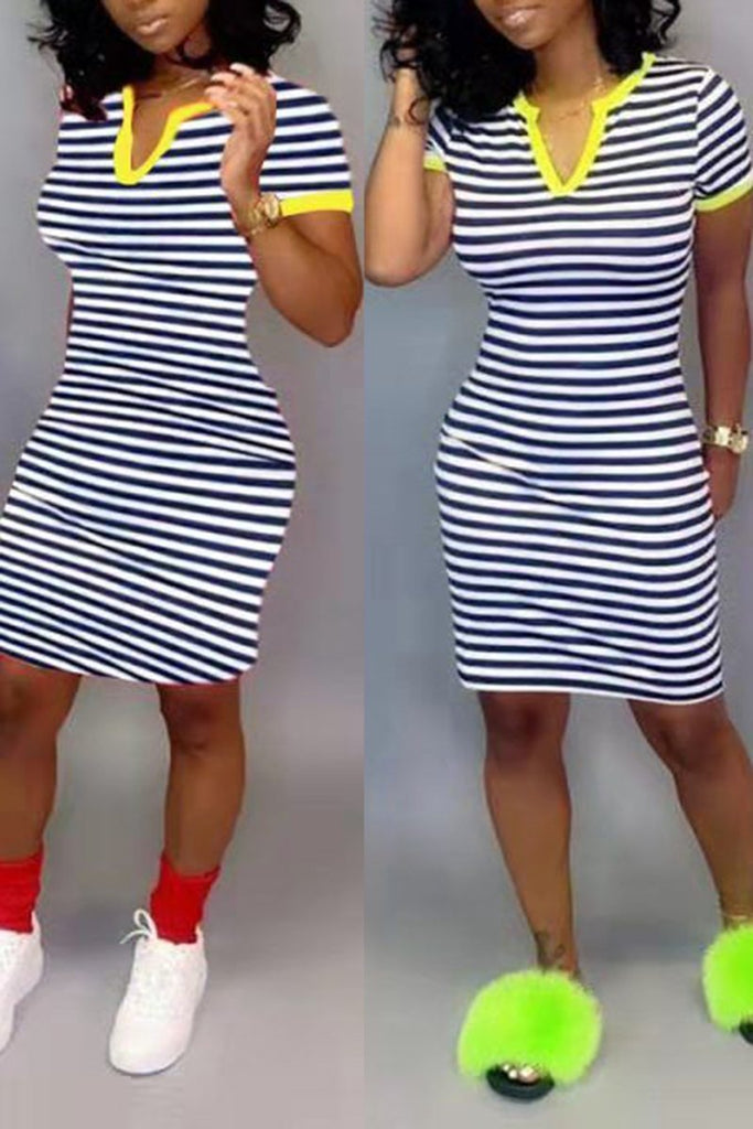 V-Neck Striped Short Sleeve Dress