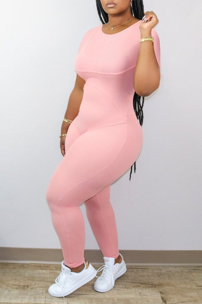 Solid Color Short Sleeve Bodycon Jumpsuit