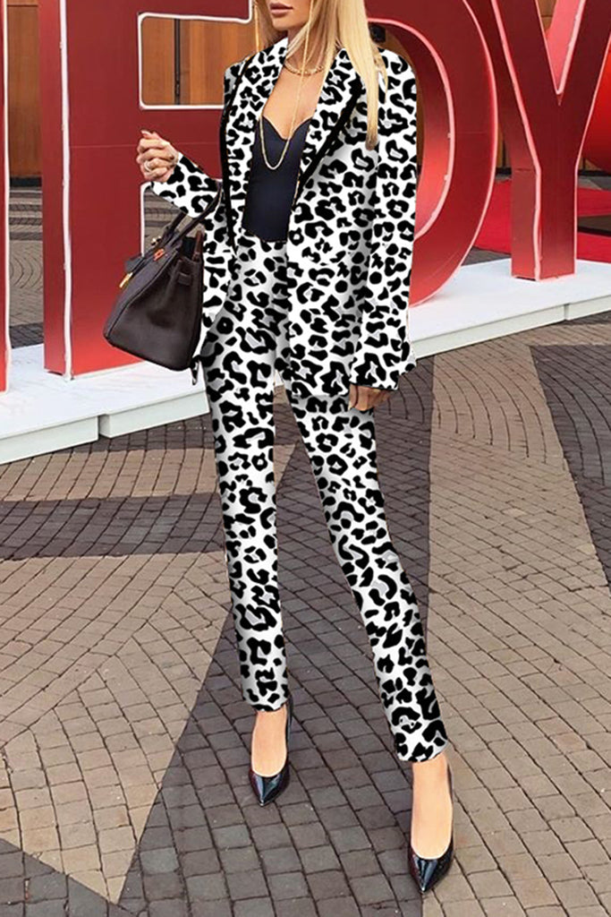 Leopard Print Wide Lapel Two Piece Outfits