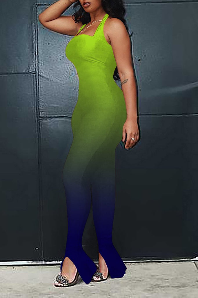 Gradient Color Sleeveless Bodycon Jumpsuit