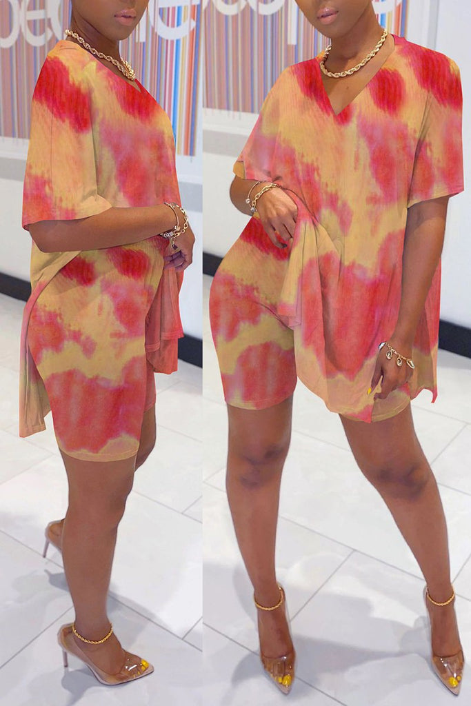 Side Slit Tie Dye V-Neck Two Piece Sets