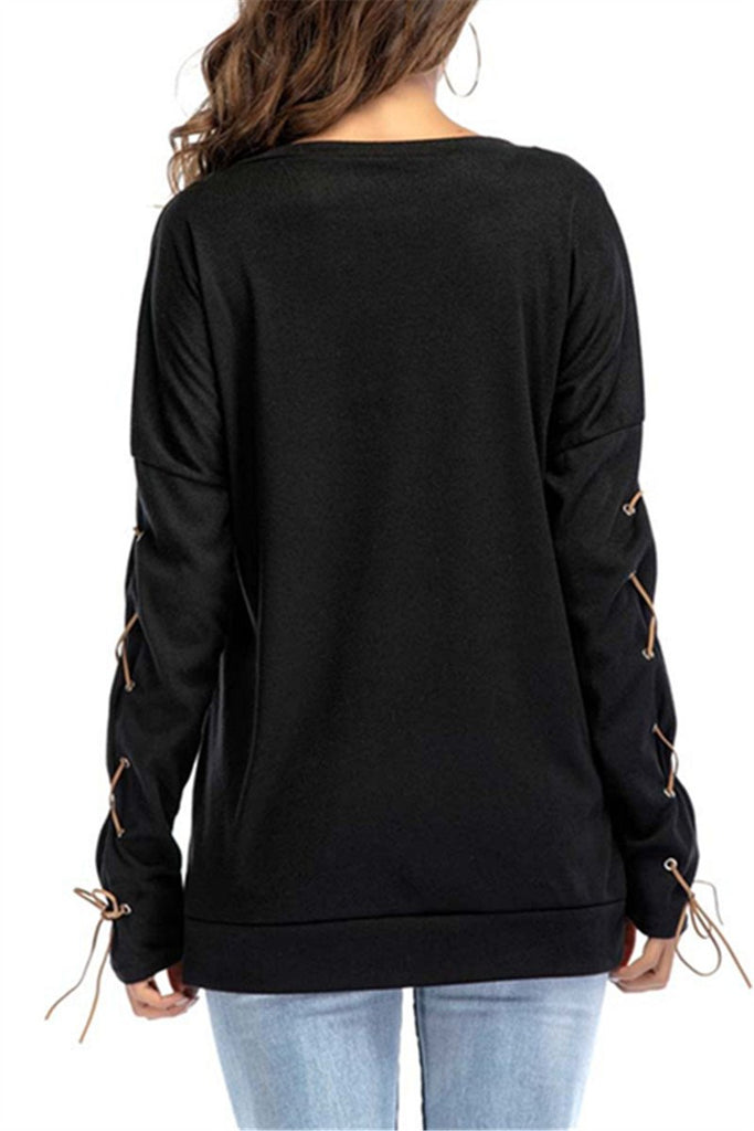 Solid Color Pocket Round Neck Bondage Top