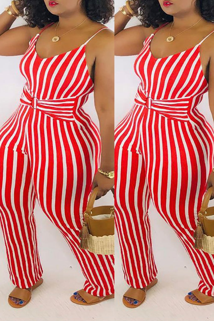 Plus Size Striped Tie Up Jumpsuit