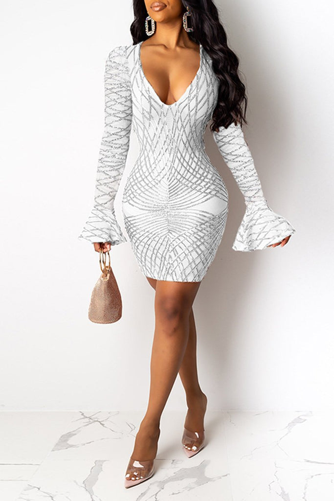 Deep V-Neck Sequins Flared Sleeve Dress