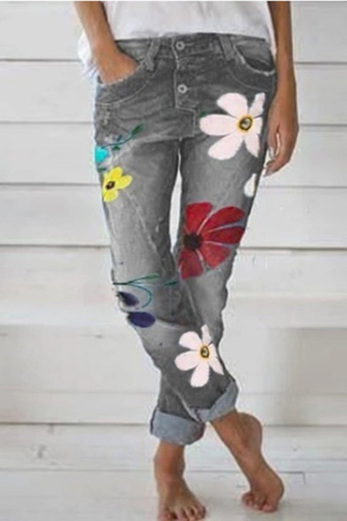 Denim Floral Print Pocket Pants