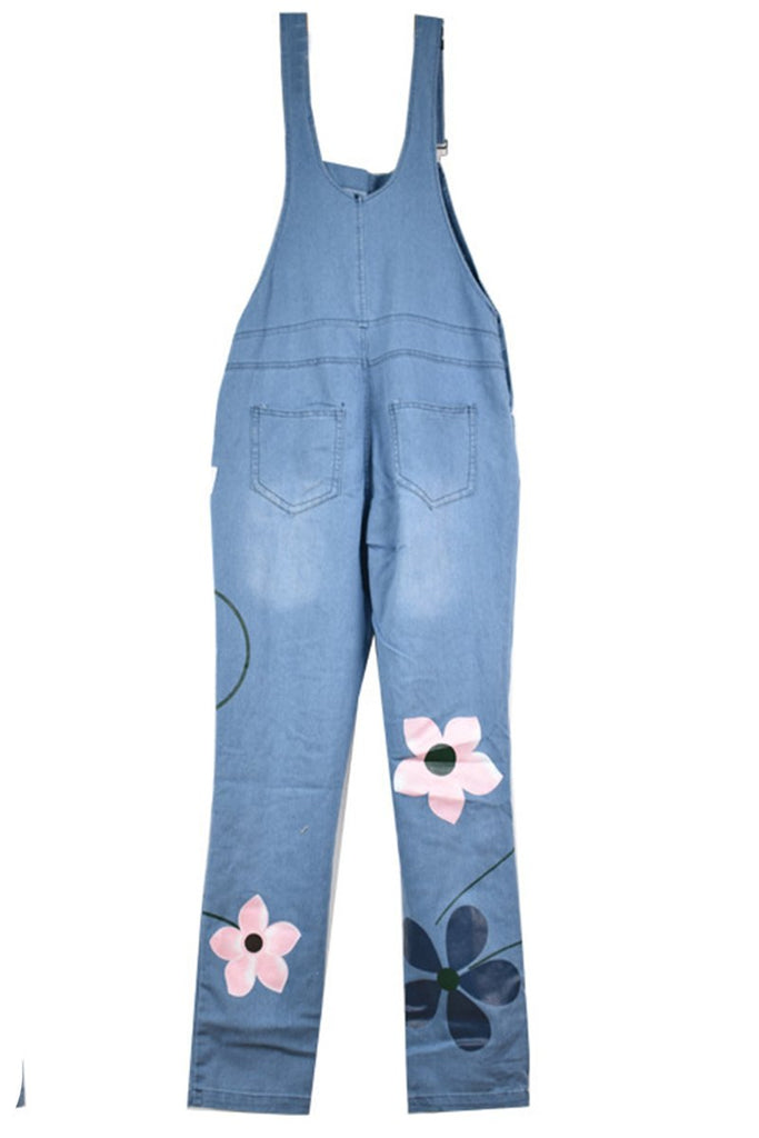Denim Floral Print Pocket Overall