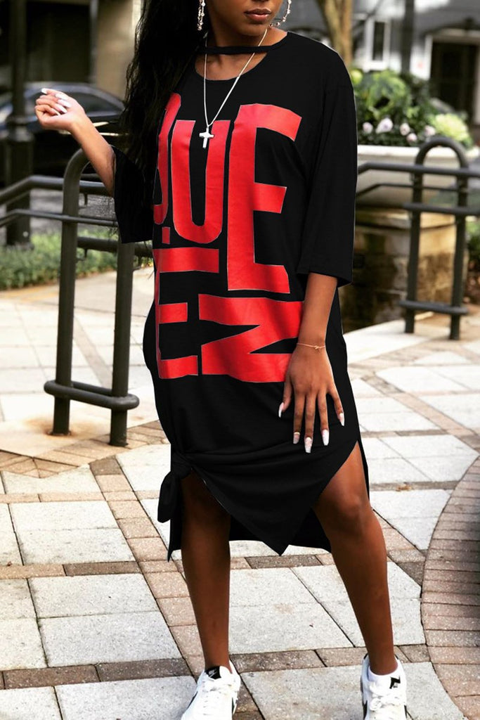 Side Slit Letter Print Midi Dress