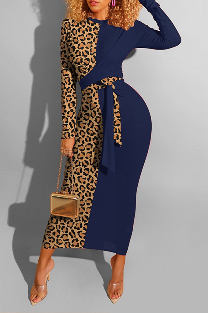 Leopard Patchwork Long Sleeve Dress With Belt