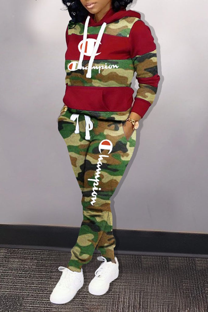 Embroidered Letter Camouflage Splicing Top & Pants
