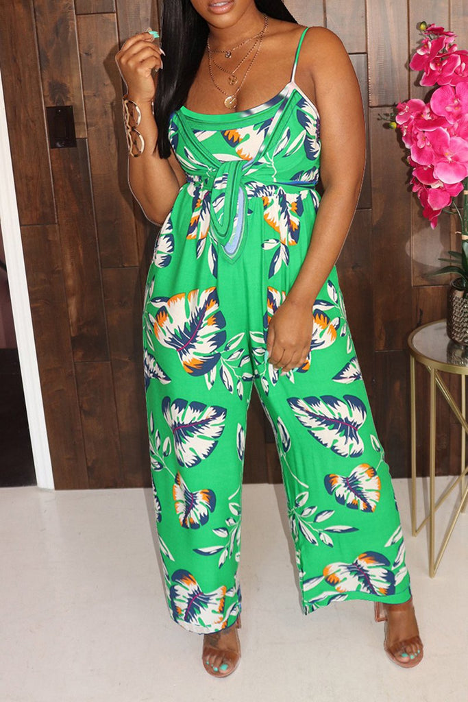 Tie Up Sleeveless Wide Leg Jumpsuit