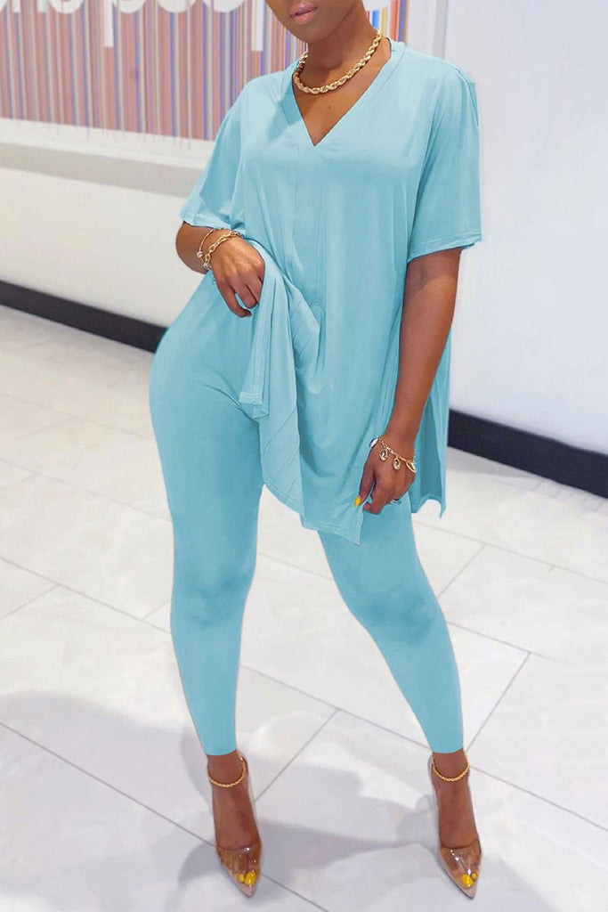V-Neck Side Slit Solid Color Two Piece Sets