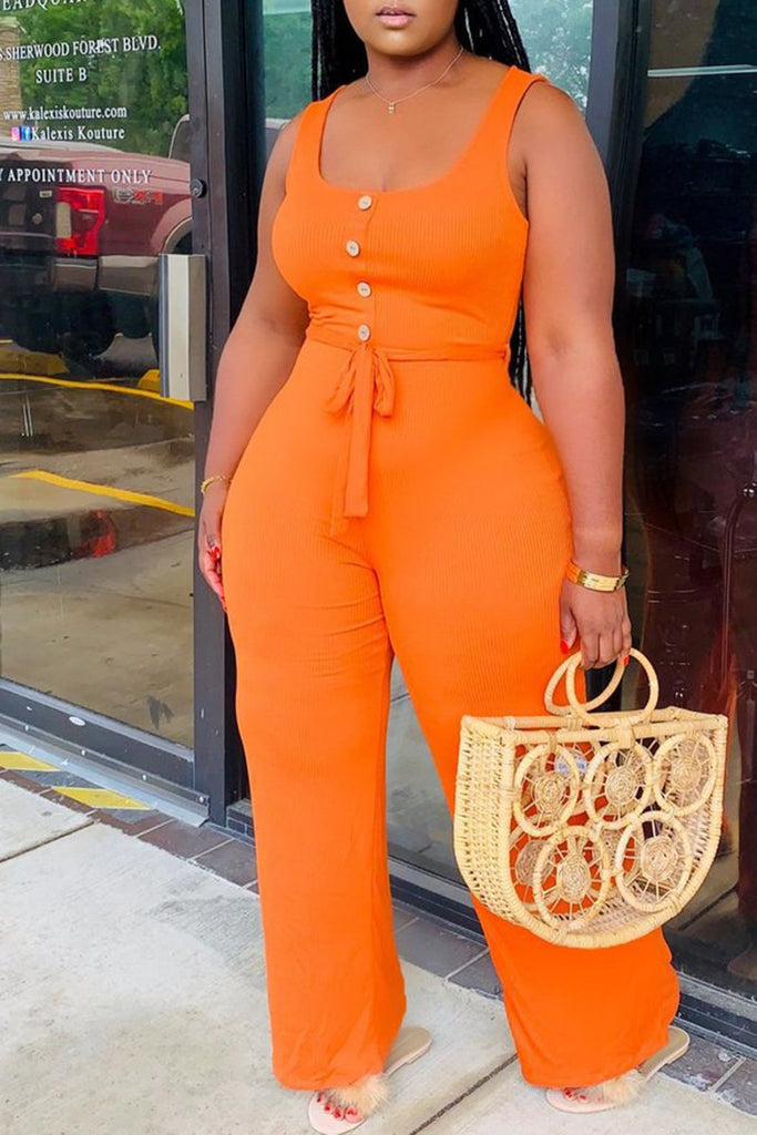 Button Scoop Neck Solid Color Belted Jumpsuit