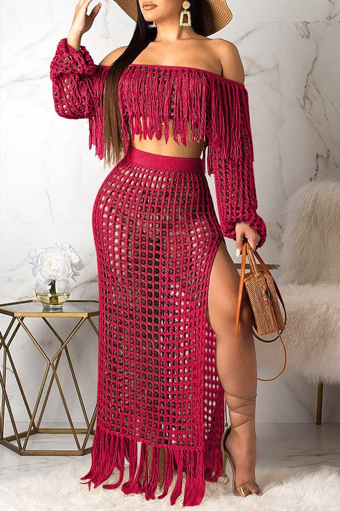 Tassel Hem Off The Shoulder High Slit Two Piece Dress