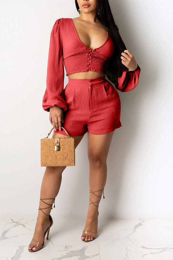 V-Neck Wrinkled Puff Sleeve Two Piece Sets