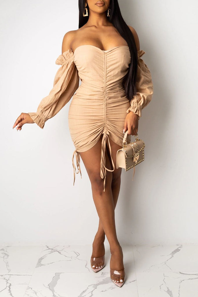 Draped Lace Up Puff Sleeve Mini Dress