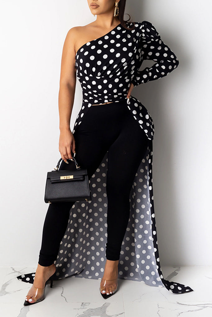 Polka Dot High Low Hem One Sleeve Top