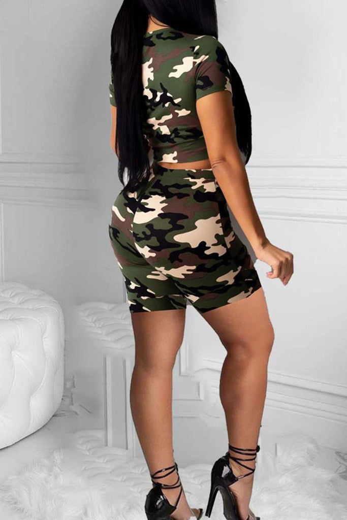 Camouflage Print Distressed Two Piece Sets