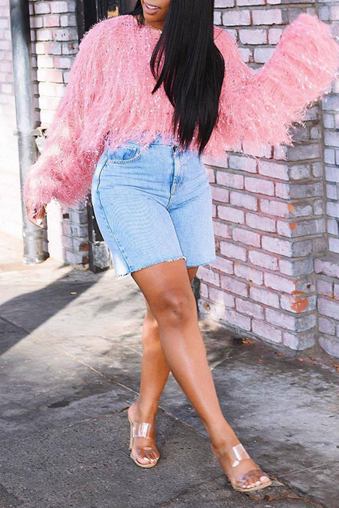 Tassels Solid Color Puff Sleeve Sweater