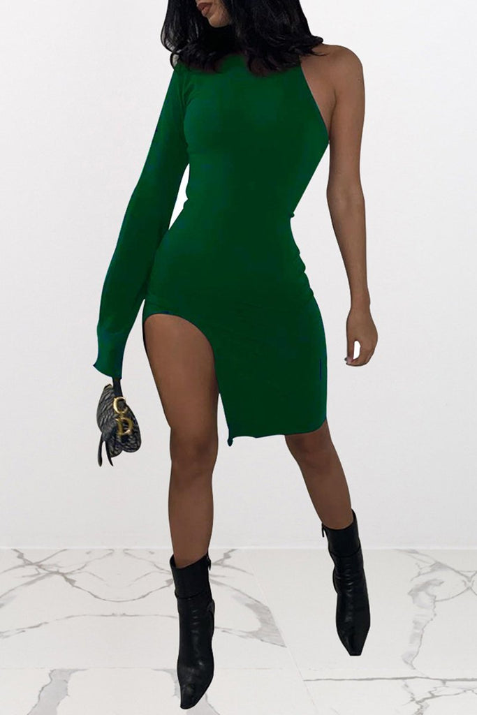 High Slit One Sleeve Mini Dress