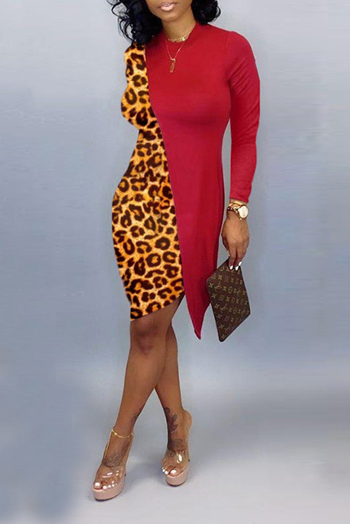 Irregular Hem Leopard Splicing Dress