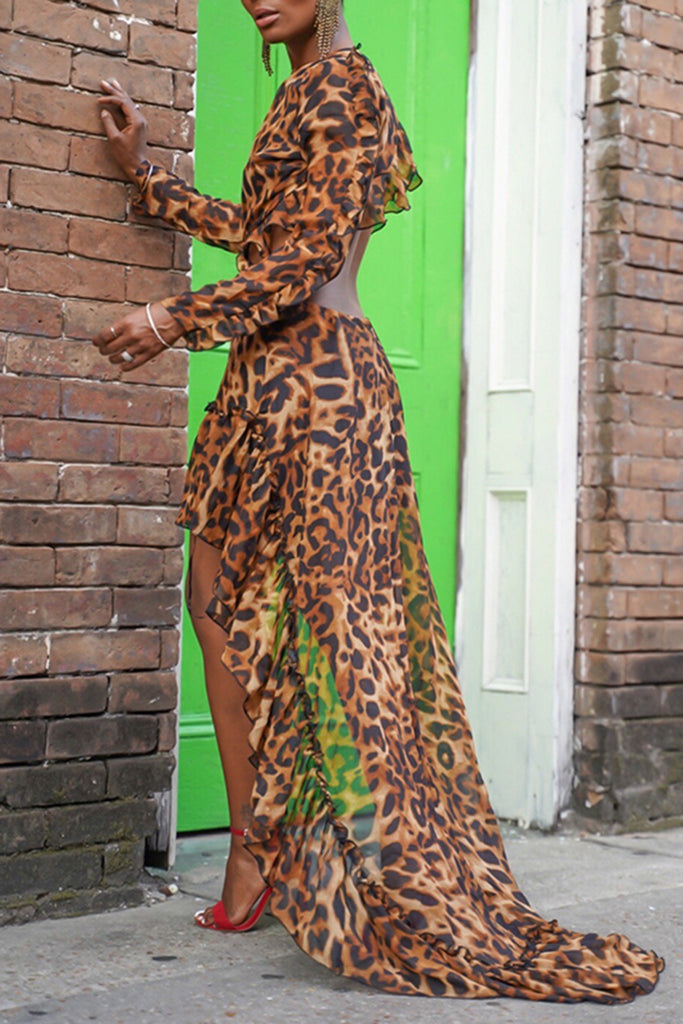 High Low Hem Ruffled Leopard Print Maxi Dress