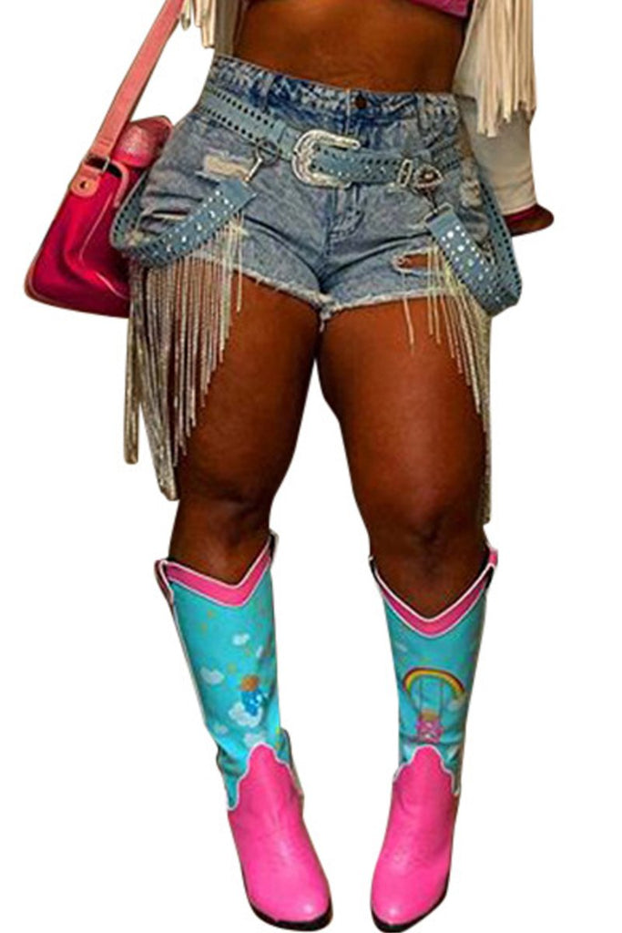 Plus Size Hole Distressed Denim Shorts Without Belt