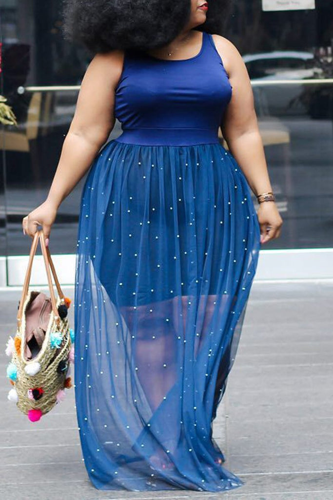 Plus Size Net Yarn Splicing Dress With Beads