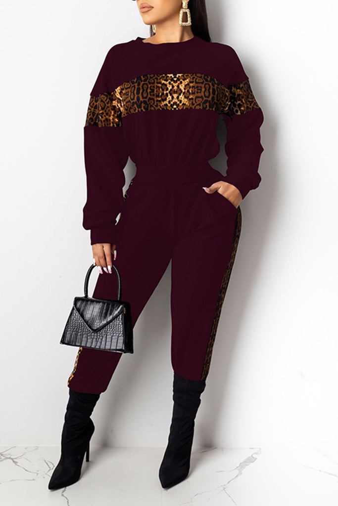 Leopard Splicing Pocket Two Piece Outfits