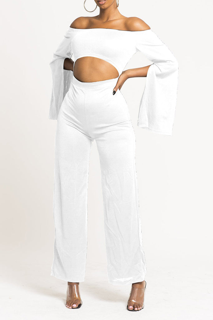 Pierced Off The Shoulder Flared Sleeve Jumpsuit