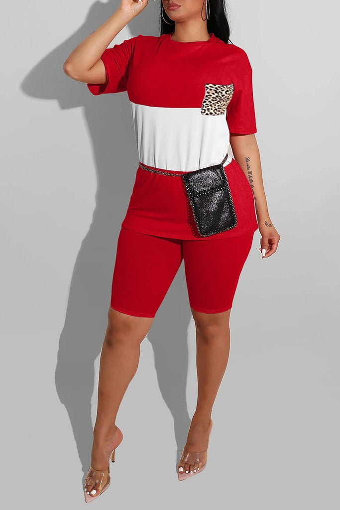Color Block Short Sleeve Two Piece Sets