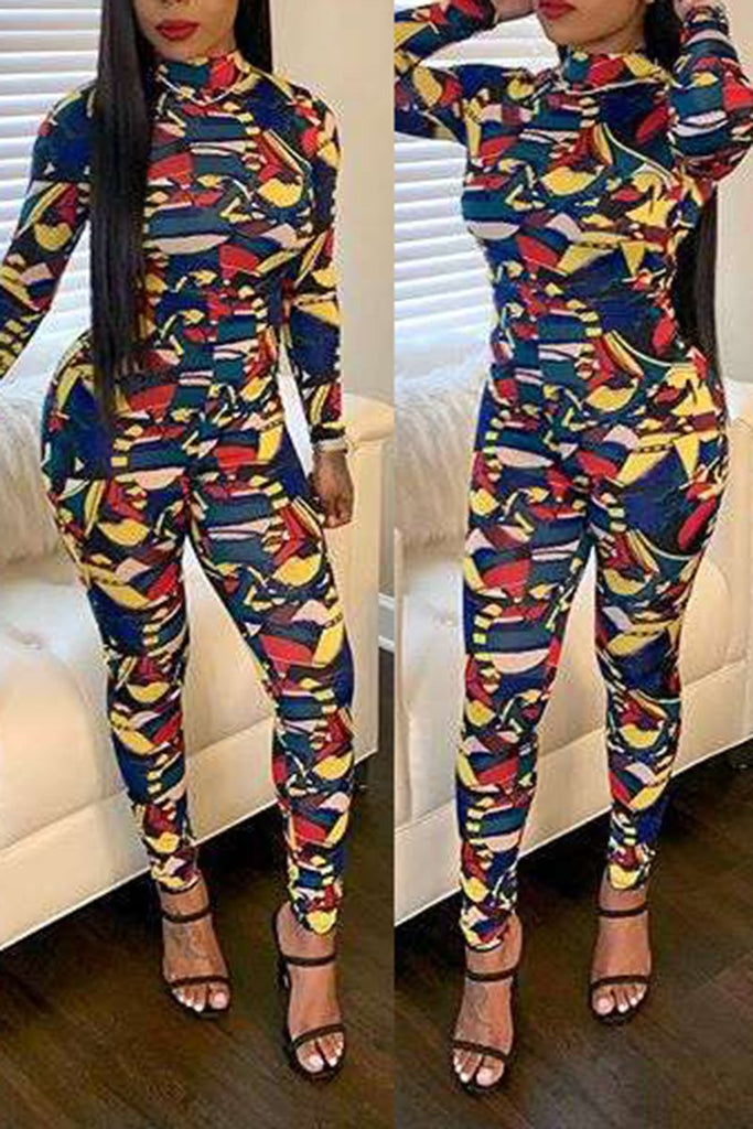 Digital Print Bodycon Long Sleeve Jumpsuit