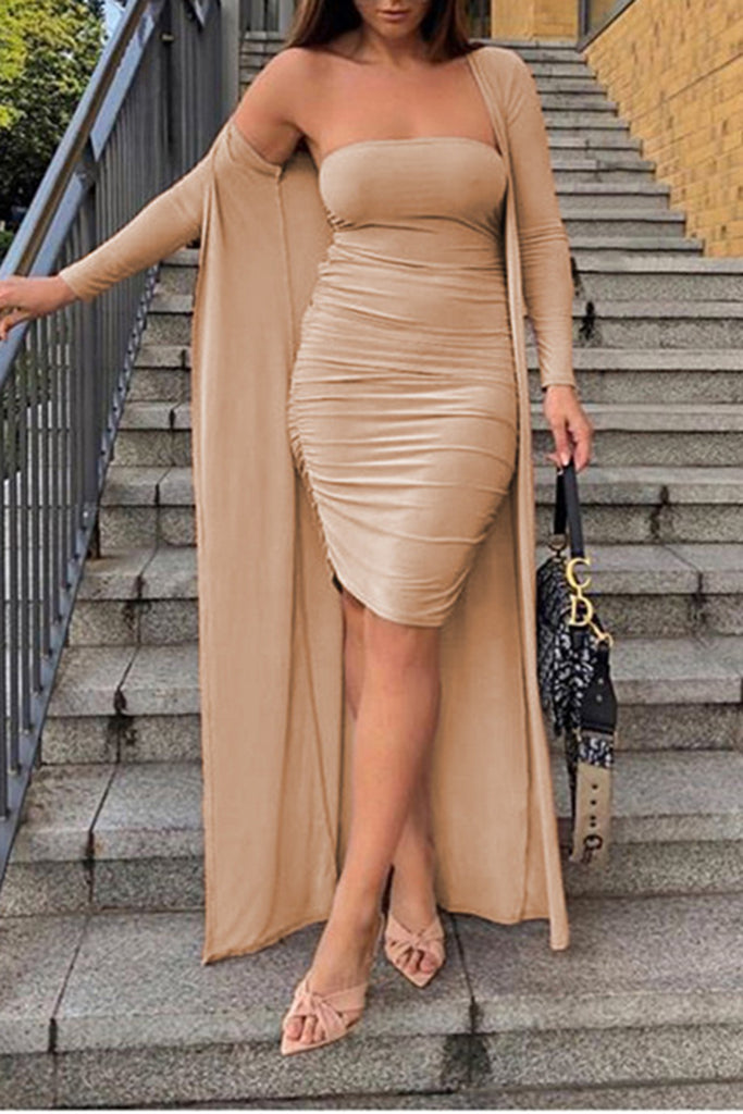 Solid Color Draped Bodycon Dress & Cardigan