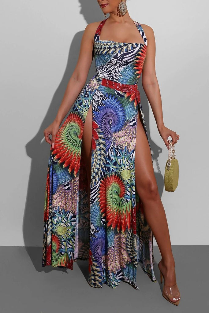 High Slit Back Bandage Maxi Dress