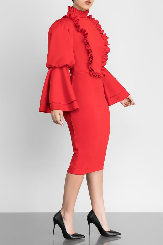 Fungus Edge Flare Sleeve Solid Color Midi Dress